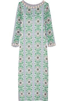 Tory Burch - Garden Party Beaded Printed Silk-chiffon Maxi Dress - Green - x small