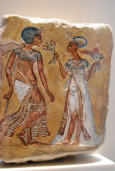 the royal couple walking in the garden. Amarna Period, 18th Dynasty.