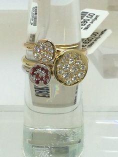 Unieke ringen met briljant en 1 combinatie rode saffier en briljant