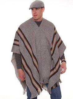 Alpaca Poncho, Wool Poncho, Poncho Sweater, Men Sweater, Alpaca Wool, Aviator Hat, Wild Style, Red Hoodie, Vertical Stripes