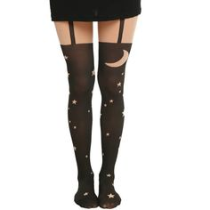 Hot Topic LOVEsick Moon & Stars Faux Thigh High Tights (13 CAD) ❤ liked on Polyvore featuring intimates, hosiery, tights, socks, stocking, black, thigh high pantyhose, thigh high stockings, star tights and star stocking