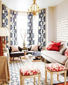 red white and blue living roomgreat use of pattern on accents to liven up a roomlove the curtains