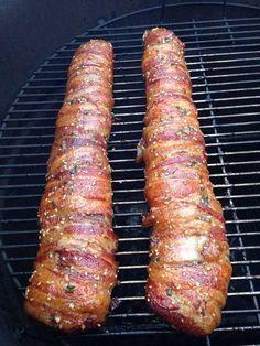 Smoked Deer Tenderloin- Bacon Wrapped Backstrap (W) Deer Backstrap Recipes, Deer Tenderloin Recipes, Venison Tenderloin, Venison Steak, Bacon Wrapped Venison Backstrap Recipe, Venison Marinade, Roast Brisket, Pork Loin, Barbecue
