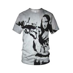 "Mona Lisa Bazooka, from the collection of ""Hand Printed"" Designs by the prolific street artist known as ""Banksy"".   More Designs and Styles on the Store: http://www.globalmusicollective.com/store/?product_cat=banksy"