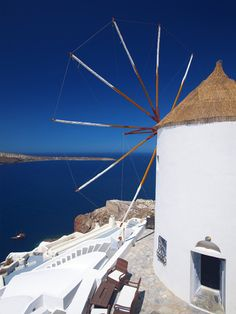 "A windmill on the Greek island of Santorini  | ""A piece of Greece"""