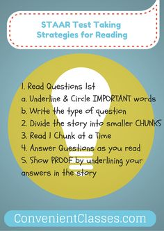 These strategies help students do better on the STAAR Reading Test. Learn more in the online class at convenientclasses.com  #STAAR #readingcomprehension