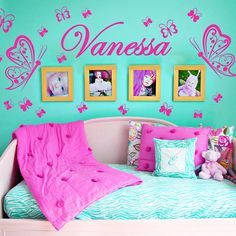 Personalized Name Butterflies Vinyl Wall Decals by SunshineGraphix, $16.99