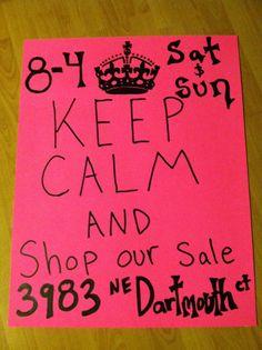 My social media inspired yard sale signs :)