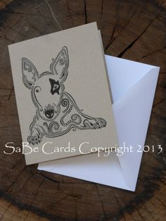 Bull Terrier Greeting Card by SaBeCards on Etsy, $5.00