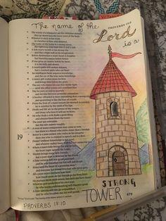 Bible journaling Proverbs 18:10.