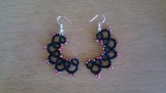 Beaded Tatted earrings by NehasCStitchnTatting on Etsy
