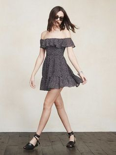 It's shoulder season again. And the Bonnie Dress is engineered to highlight them. This is an off-the-shoulder georgette mini dress with a ruffled stretch neckline and ruffled hem. The waist is fitted but the skirt is loose and flirty. https://www.thereformation.com/products/bonnie-dress-birch?utm_source=pinterest&utm_medium=organic&utm_campaign=PinterestOwnedPins