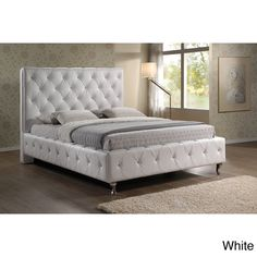 Stella Crystal Tufted White Modern King-size Bed with Upholstered Headboard