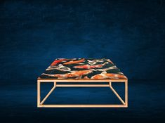 Gold frame design with teak stained top and japanese fish artwork. Bespoke Furniture, Furniture Design, Fish Artwork, Coffee Tables, Teak, Japanese, Frame, Gold, Home Decor