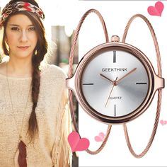 Woman Bracelet Bangle Casual Double Ring steel wristwatch //Price: $14.40 & FREE Shipping //     #ladieswatch