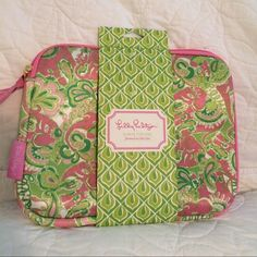 """Lilly Pulitzer Case in Lilly Chin Chin NWT  Pretty Lilly Pulitzer iPad Case also use for cosmetic case, traveling, jewelry, stockings, bathing suit, office school supplies, snacks, etc. Fabric in Lilly Chin Chin w/ Lucky Elegant Elephants. PP for less. I already have one of my own that I use & I LOVE it! 11"""" wide by 8 1/2"""" tall. (35) Lilly Pulitzer Accessories"""