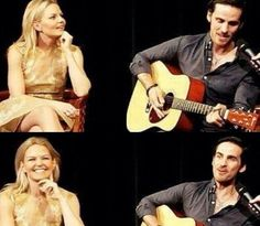 Jen & Colin during a panel w/Meghan (credit @onceuponaswan_x on Instagram)