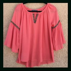 Bell Sleeve Boho Top Boho style top with bell sleeves. In Coral, 100% Rayon. April Spirit Tops