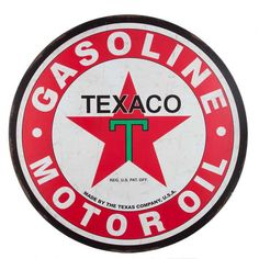 Relive the glory days of motor vehicles with Large Round Texaco Tin Sign. This sign is perfect for displaying in your shop, garage, man cave, and more. Featuring the classic red Texaco star and symbol