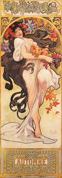 """Autumn"" ~ Alphonse Mucha ~ Click through the large version for a full-screen view (with a black background in Firefox). Set your computer for full-screen. ~ Mik's Pics ""Alphonse Mucha l"" board Art Nouveau Mucha, Alphonse Mucha Art, Art Nouveau Poster, Inspiration Art, Art Inspo, Art And Illustration, Jugendstil Design, Illustrator, Kunst Poster"
