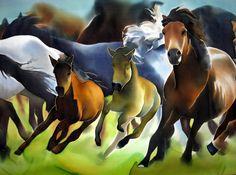 Horses Silk Painting Herd of Wild Running Horses Hand by SilkMood