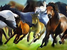 Laufende Pferde. Seide Malerei Herde von wilden von SilkMood