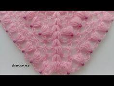So beautiful!!!İncili Çeyizlik Şal Modeli - YouTube Lace Knitting, Baby Knitting Patterns, Knitting Designs, Knitted Shawls, Crochet Shawl, Free Crochet, Barbie Accessories, Crochet Accessories, Lace Patterns
