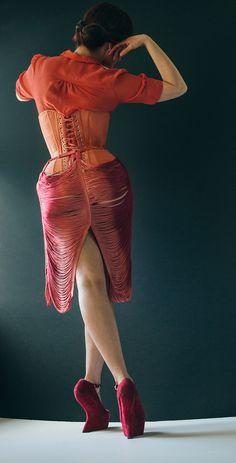 "Custom waist training corset ""Sherbert Doll"" by Pop Antique | Model: Victoria Dagger | Photo © Joel Aron"