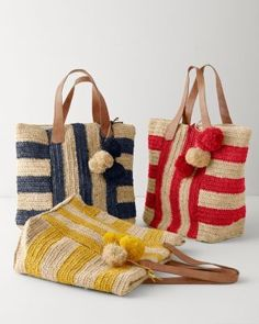 Crochet Bags Ideas Mar Y Sol Havana Raffia Tote - Mexico - Crochet Shell Stitch, Crochet Tote, Crochet Handbags, Crochet Purses, Italian Leather Handbags, Purse Patterns, Crochet Patterns, Knitted Bags, Handmade Bags