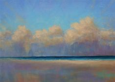 """Daily Paintworks - """"Clearing Clouds Seascape Pastel Painting by Poucher"""" - Original Fine Art for Sale - © Nancy Poucher"""