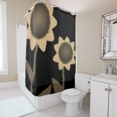 Shower curtain sunflowers - red gifts color style cyo diy personalize unique