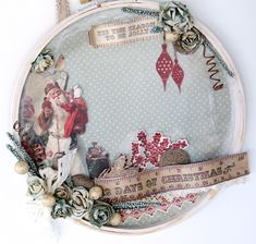 Altered Christmas Embroidery Hoop wall Decoration - Scrapbook.com