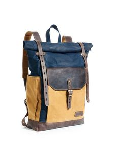 483f30541d22 Navy blue yellow Waxed canvas backpack. Roll top cotton leather rucksack  for laptop. Personalized gift