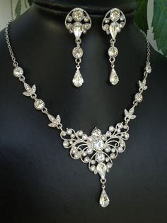 Cloudia Romantic Swarovski crystal bridal necklace and earrings set