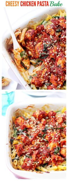 Cheesy Chicken Pasta Bake - Creamy, cheesy pasta, chicken, and spinach tossed with tomato sauce and baked until bubbly and delicious! | #recipe #chicken #pasta