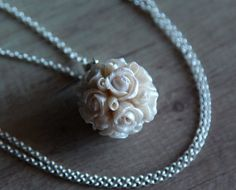 White floral pendant with silver chain Sphere pendant Wedding necklace Pearl jewelry Pearl roses pendant Polymer clay pendant Flower jewelry