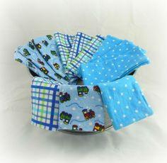 Cloth Wipes, Washcloths, Burp Cloths, Handkerchiefs, Dust Cloths in Trains, Dots, and Plaid Blue by HeavenBoundHCA, $10.20 USD