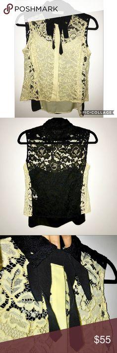 Sandro Paris - color-block lace blouse - sz1/ XS Sandro Paris - color-block lace blouse - sz1/ XS Sandro Tops Blouses