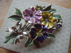 Signed Exquisite Brooch Bunch of Pansies Flower by LincaraVintage, $28.00