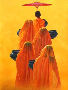 Monks in Yellow Robes by Aung Kyaw Htet