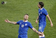 Italy's Cassano reacts next to Italy's Montolivo during their Euro 2012 quarter-final soccer match against England at the Olympic stadium in Kiev. MICHAEL DALDER/REUTERS