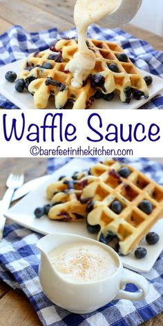 Waffle Sauce is an unforgettable topping for waffles pancakes or French toast! - Waffle Maker - Ideas of Waffle Maker - Waffle Sauce is an unforgettable topping for waffles pancakes or French toast! get the recipe at barefeetinthekitc Breakfast And Brunch, Breakfast Dishes, Breakfast Recipes, Breakfast Waffles, Waffle Maker Recipes, Waffle Toppings, Waffle Desserts, Best Waffle Recipe, Waffle Syrup Recipe