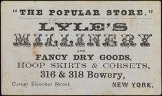 Lyle's Millinery, 316 & 318 Bowery