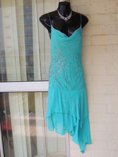 Vintage  Stunning Sheer Silk Aqua  Sequin Beaded  by GlamourZoya