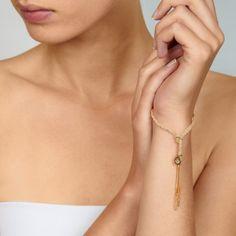 18k Yellow Gold & Cream Silk Woven Bracelet by Carolina Bucci