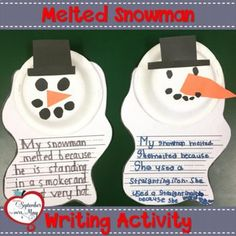Melted Snowman Writing Craftivity After reading Sneezy the Snowman by Maureen Wright, your students will enjoy making this cute melted snowman craft along with a fun cause and effect writing prompt! Perfect for an easy transition back from winter Kindergarten Writing, Writing Activities, Winter Activities, Preschool Winter, Kindergarten Crafts, Math Crafts, Kindergarten Christmas, Daycare Crafts, Teaching Writing