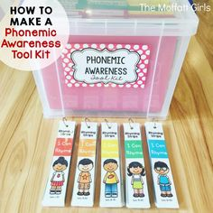 How to Make a Phonemic Awareness Tool Kit. Keeping materials organized is key for managing a successful classroom environment. Check out these simple ways to keep your phonemic awareness materials organized! Lila Kindergarten, Kindergarten Literacy, Literacy Activities, Early Literacy, Baby Activities, Literacy Centers, Reading Intervention, Reading Skills, Teaching Reading