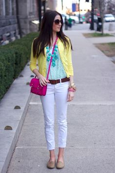 jeans blancos colores brillantes