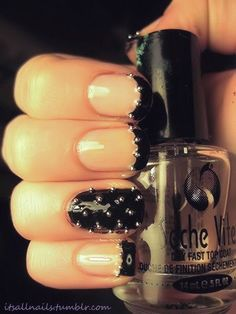 ::Black with silver studs:: woman's fashion, glamour, nails, style, design