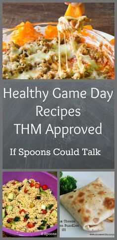 Healthy game day recipes that are THM friendly. Most are S options with a few E thrown in. Make watching your team win even more enjoyable with guilt free snacks.